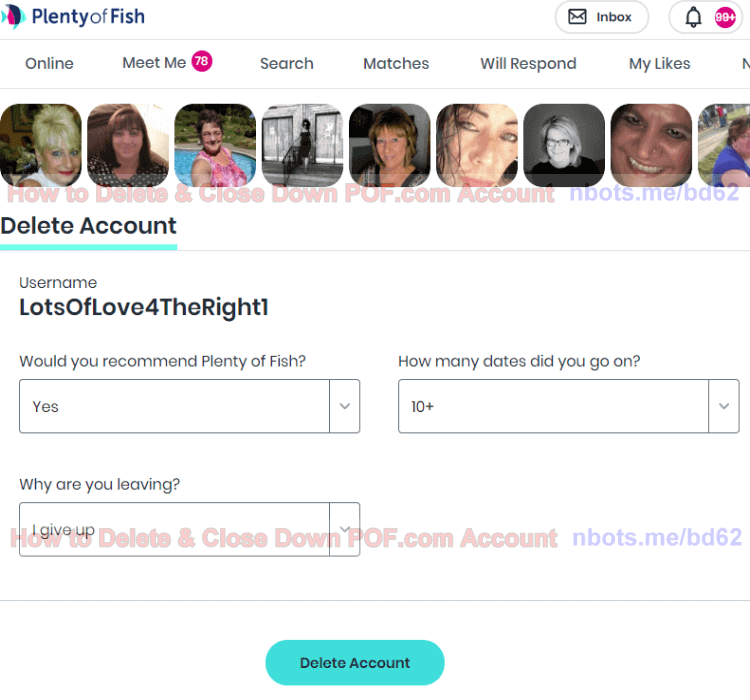 Meet me account delete