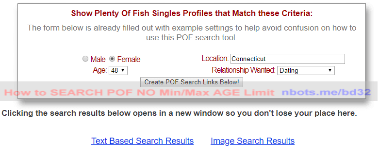 plenty of fish username and password
