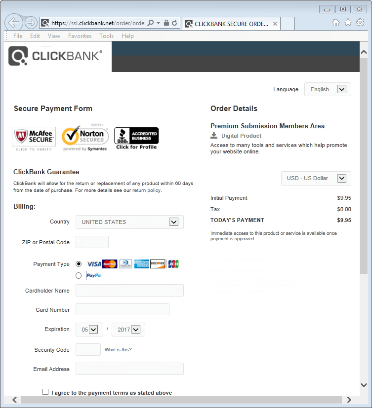 Image of Clickbank Order Page Of The Lowest Price Vendor Deal Found By Clickbank Thief.
