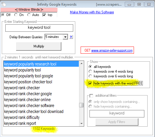 Image of Infinity Google Keywords With Free Filter Applied To Remove Keyword Phrases With The Word Free.