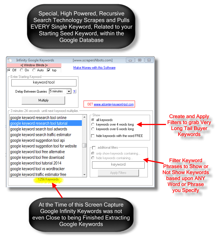 Image of Infinity Google Keywords software main screen with top features outlined.