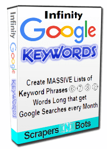 Infinity Google Keywords software box.