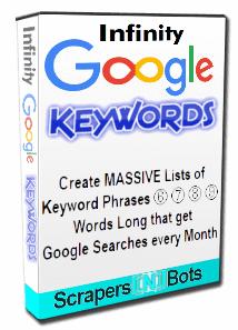 Infinity Google Keywords software box.
