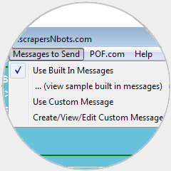 Image of POF Bot 'Use Built in Message' and 'Use Custom Message' of message sending.