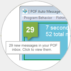 Image of POF Bot displaying new messages in POF.com inbox.
