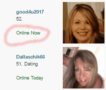 Image of people on Plenty Of Fish who are online now.
