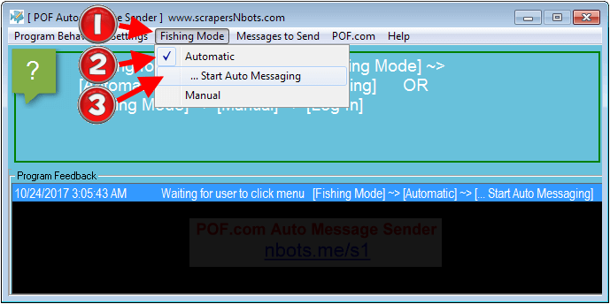 Image of how to run POF Auto Message Bot in Automatic Mode.