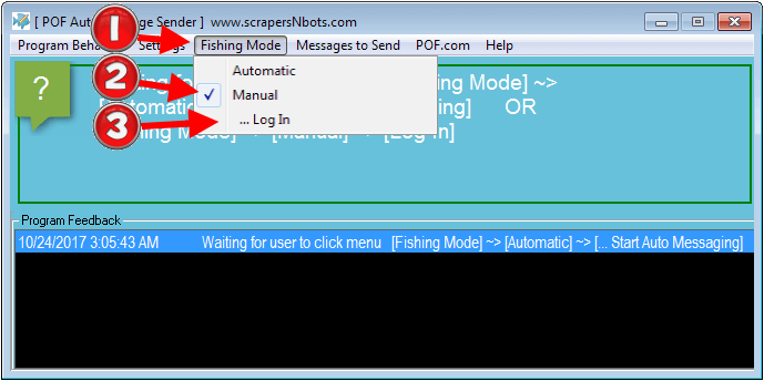 Image of how to run POF Auto Message Bot in Manual Mode.