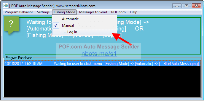 Menu items for running POF Auto Message Sender Bot in Manual Mode.