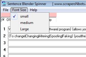 Image of Sentence Blender Spinner Font Size Menu.
