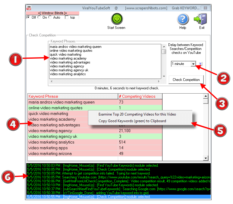 Image of ViralYouTubeSoft 'Check Competition' Software Module with various features and elements highlighted and described.