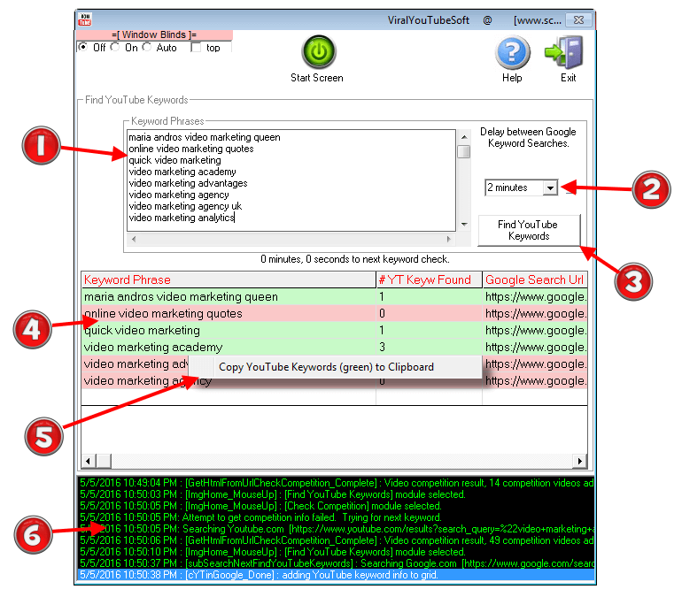 Image of ViralYouTubeSoft 'Find YouTube Keywords' Software Module with various features and elements highlighted and described.