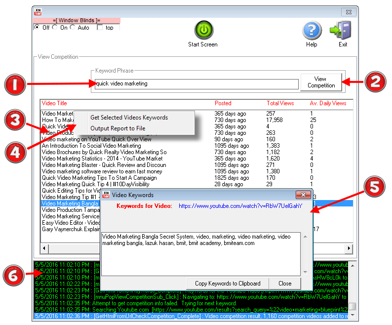 Image of ViralYouTubeSoft 'View Competition' Software Module with various features and elements highlighted and described.