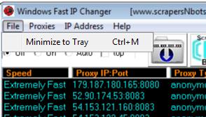 Image of Windows Fast Ip Changer File Menu.