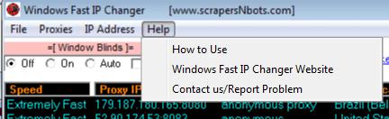 Image of Windows Fast Ip Changer Help Menu.