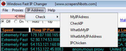 Image of Windows Fast Ip Changer Ip Address Menu.