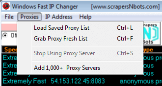 Image of Windows Fast Ip Changer Proxies Menu.