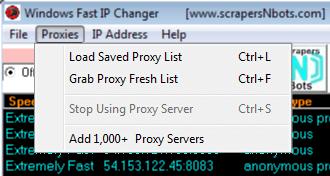 Image of Windows Fast Ip Changer Proxies Menu.