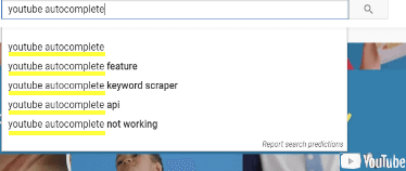Image of YouTubes Auto Suggest Dropdown Showing Keyword Suggestions.